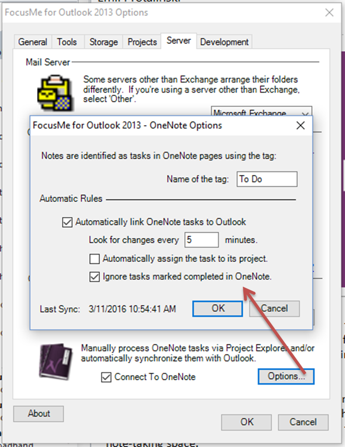 FocusMe Options - OneNote Integration