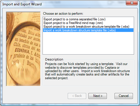 Import - Export Wizard