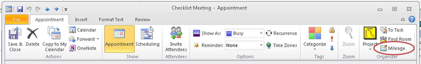 microsoft outlook appointment mileage ribbon button