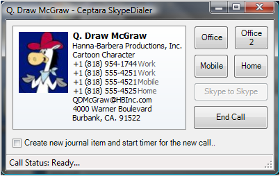 Example of SkypeDialer's Call Manager