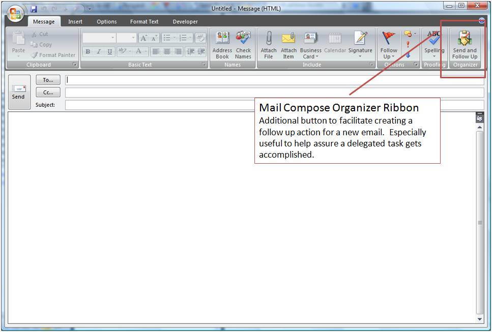 Organizer Mail Compose Buttons